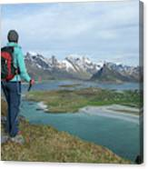 Female Hiker With Over Yttersand Beach Canvas Print