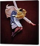 Female Jumping Blonde Hair Arms Wide Canvas Print