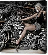 Female Model With A Motorcycle Canvas Print