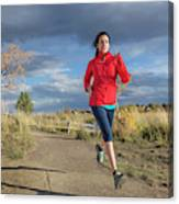 Female Runner In Colorado Canvas Print