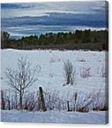 Fence And Snowy Field Canvas Print