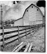 Fence Posts And Barn Canvas Print