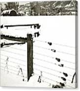 Fence Pulls In Winter Canvas Print