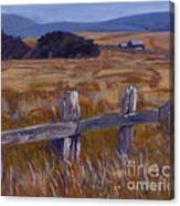 Fenced Field - Point Arenas Ca Canvas Print