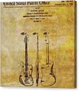 Fender Guitar Patent On Canvas Canvas Print