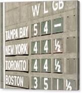 Fenway Park Al East Scoreboard Standings Canvas Print