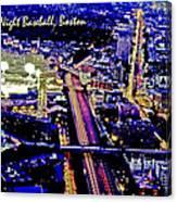 Fenway Park Baseball Night Game Digital Art Canvas Print