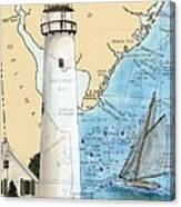 Fenwick Island Lighthouse De Nautical Chart Map Art Cathy Peek Canvas Print