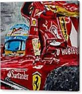 Fernando Alonso And Ferrari F10 Canvas Print