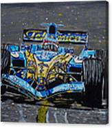Fernando Alonso In Blue Canvas Print