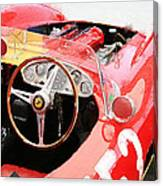 Ferrari Cockpit Monterey Watercolor Canvas Print