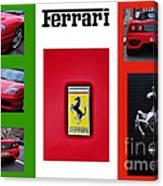 Ferrari Collage On Italian Flag Canvas Print