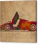 Ferrari Enzo 2004 Classic Car Watercolor On Worn Distressed Canvas Canvas Print