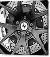 Ferrari Wheel Emblem - Brake Emblem -0430bw Canvas Print
