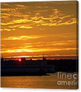 Ferry At Sunset Canvas Print
