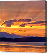 Ferry Crossing Sunset Canvas Print