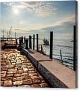 Ferry Leaves Long Wharf Canvas Print