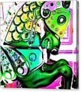 Festive Green Carnival Horse Canvas Print