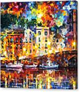 Few Boats - Palette Knife Oil Painting On Canvas By Leonid Afremov Canvas Print