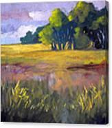 Field Grass Landscape Painting Canvas Print