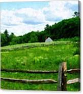 Field Near Weathered Barn Canvas Print