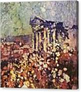 Fields Of Flower- And Roman Temple Canvas Print