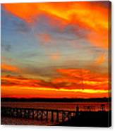 Fiery Skies And Silhouetted Pier Canvas Print