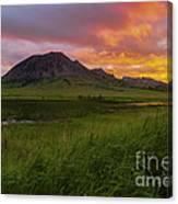 Fiery Sky Over Bear Butte Canvas Print