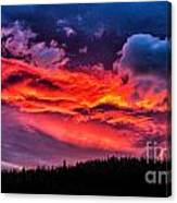Fiery Sunrise At Glacier National Park Canvas Print
