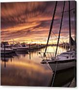 Fiery Sunset At Stuart Marina Canvas Print