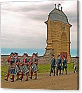 Fife And Drum Parade In Louisbourg Living History Museum-1744-ns Canvas Print