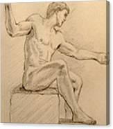Figure On A Rock Canvas Print