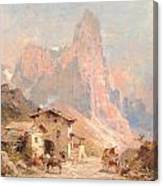 Figures In A Village In The Dolomites Canvas Print