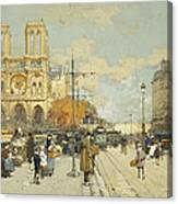 Figures On A Sunny Parisian Street Notre Dame At Left Canvas Print