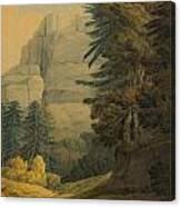 Figures Walking Near Glarus Switzerland  Canvas Print