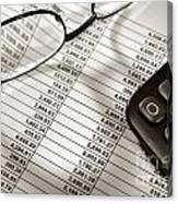 Financial Spreadsheet With Calculator And Glasses Canvas Print