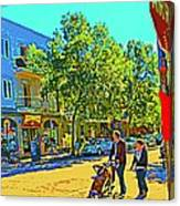 Fine Day For Baby Strollers And Bikes Art Of Montreal Street Scene Across Maitre Gourmet Cafe Canvas Print