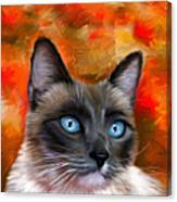Fire And Ice - Siamese Cat Painting Canvas Print