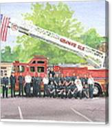 Fire Brigade Truck Watercolor Painting Canvas Print