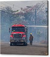 Fire Engine Fighting A Small Fire Canvas Print
