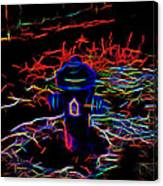 Fire Hydrant Bathed In Neon Canvas Print