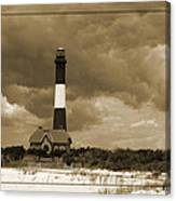Fire Island Light In Sepia Canvas Print