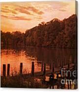 Fire On Lake Newport  Canvas Print