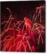 Fire Red Orange Fireworks Galveston Canvas Print