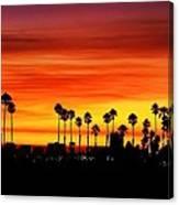 Fire Sunset In Long Beach Canvas Print