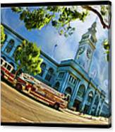 Fire Truck And Ferry Building Canvas Print