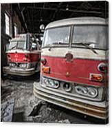 Fire Trucks Abandoned And Dirty Canvas Print