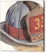 Firefighter Helmet With Melted Visor Canvas Print