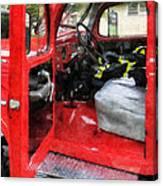 Fireman - Fire Truck With Fireman's Uniform Canvas Print