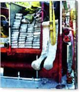 Fireman - Hoses On Fire Truck Canvas Print